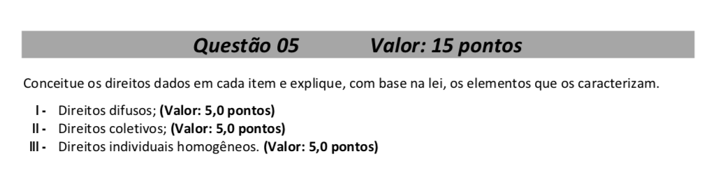 QUESTÃO DISCURSIVA - DPE-MT - 2016